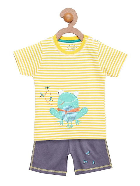 Pepito Boys Yellow & Blue Striped Clothing Set