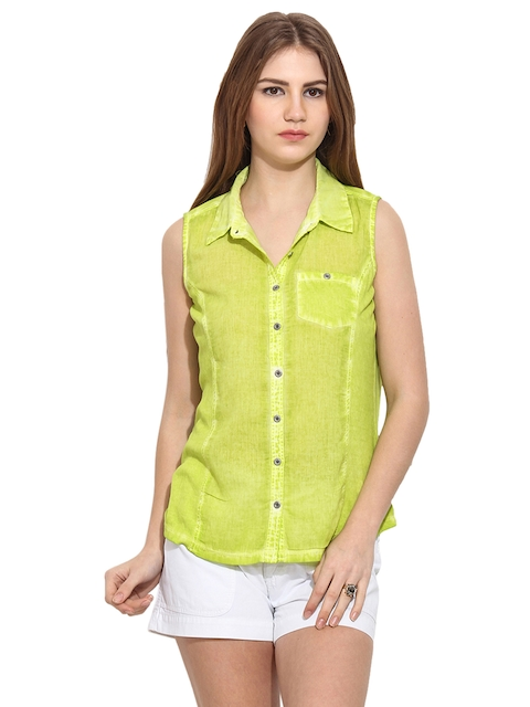 Free & Young Women Green Slim Fit Solid Casual Shirt  available at myntra for Rs.974