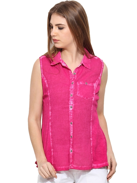 Free & Young Women Pink Slim Fit Solid Casual Shirt  available at myntra for Rs.974
