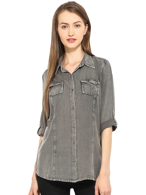Free & Young Women Charcoal Grey Slim Fit Solid Chambray Casual Shirt  available at myntra for Rs.764