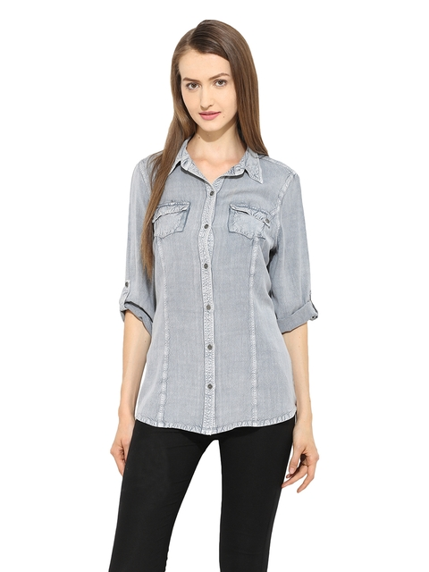 Free & Young Women Blue Slim Fit Washed Chambray Casual Shirt  available at myntra for Rs.764