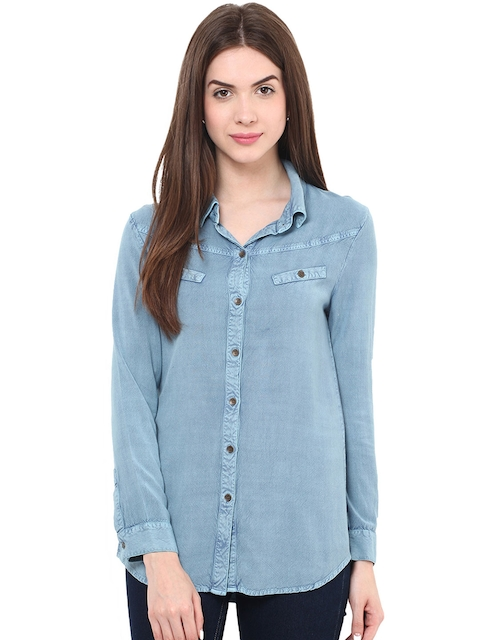 Free & Young Women Blue Slim Fit Chambray Casual Shirt  available at myntra for Rs.742