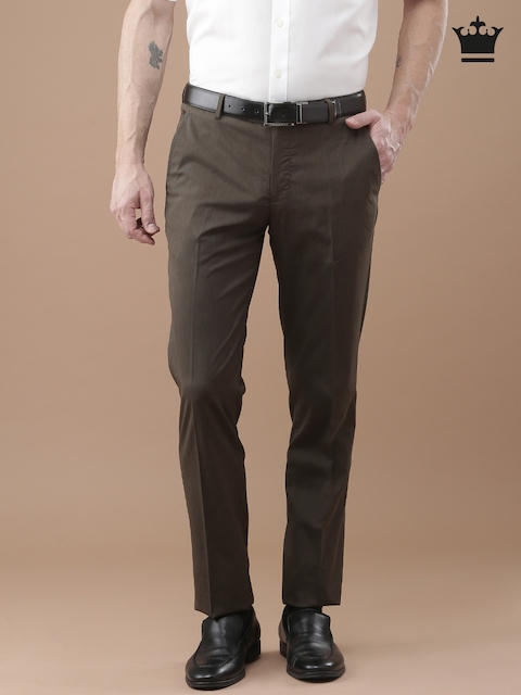 Louis Philippe Men Brown Milano Slim Fit Solid Formal Trousers