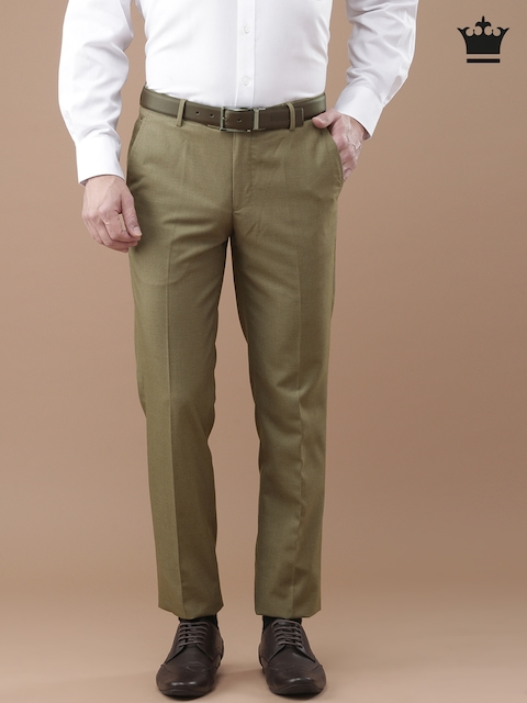 Louis Philippe Khaki Checked Formal Trousers
