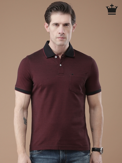 Louis Philippe Men Burgundy Solid Polo T-Shirt