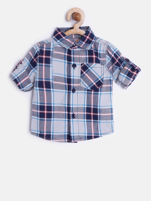 612 league BoysBlue & Off-White Checked Casual Shirt