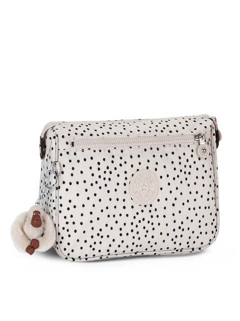 Kipling Unisex White Printed Toiletry Pouch with Key Chain