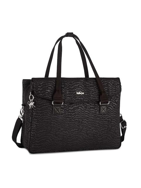 Kipling Women Black Printed Laptop Bag with Sling Strap