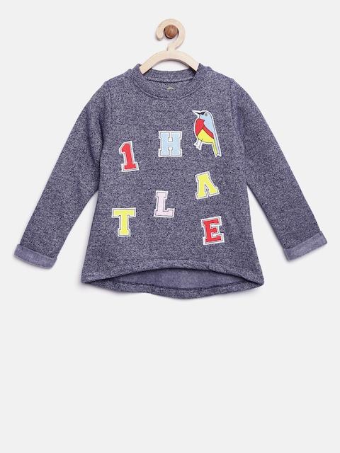 YK Girls Blue Applique Sweatshirt