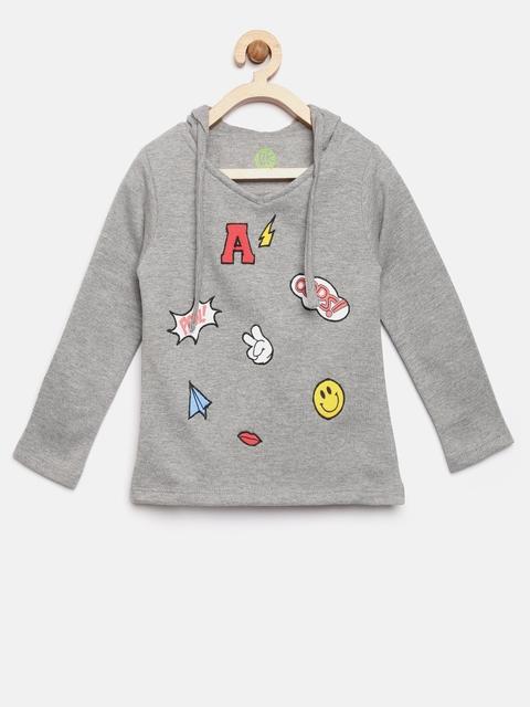 YK Girls Grey Melange Appliqu Hooded Sweatshirt