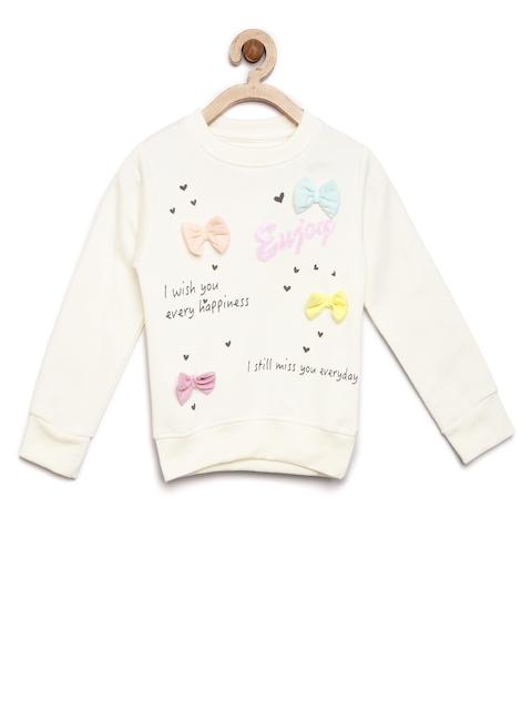 YK Girls Off-White Printed Sweatshirt