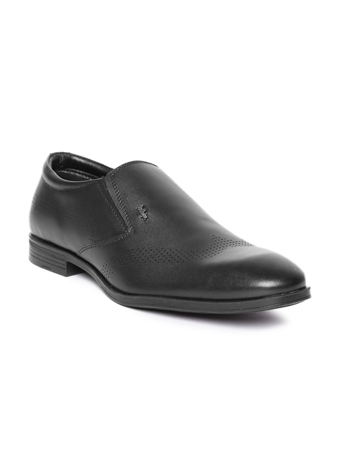 Lee Cooper Men Black Textured Genuine Leather Semiformal Slip-Ons
