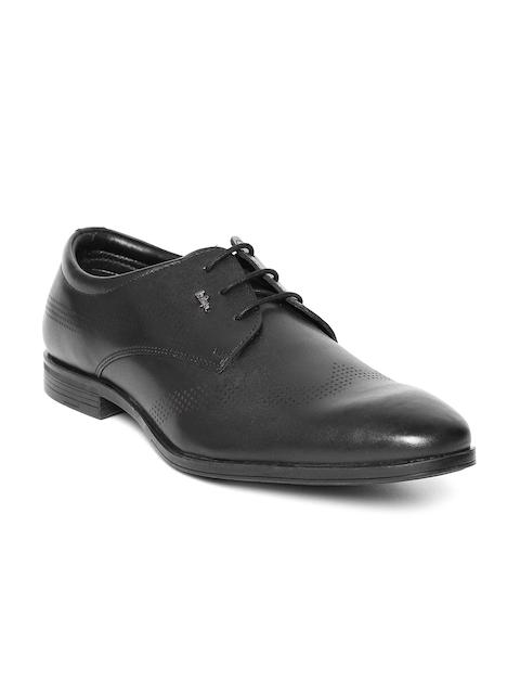 Lee Cooper Men Black Textured Genuine Leather Derbys
