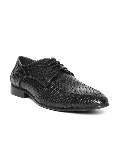 Lee Cooper Men Black Real Leather Basketweave Patterned Semiformal Shoes