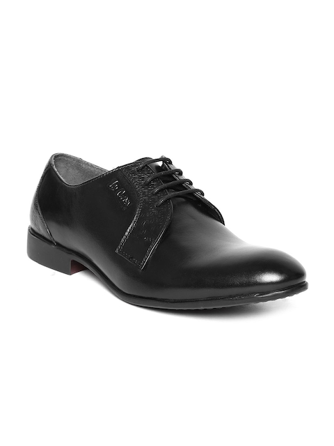 Lee Cooper Men Black Real Leather Formal Shoes