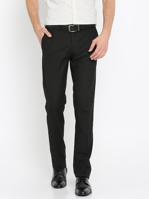 Van Heusen Men Black Slim Fit Solid Formal Trousers