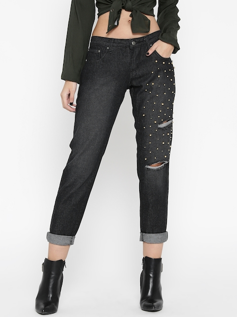 Roadster Women Black Slim Fit Mid-Rise Mildly Distressed Embellished Jeans