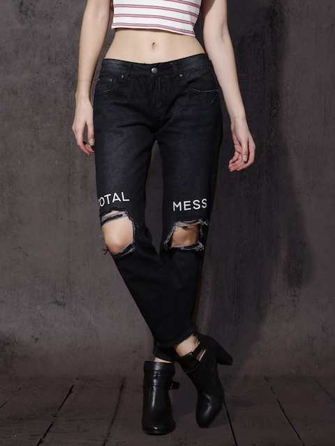 Roadster Women Black Slim Fit Mid-Rise Slashed Knee Jeans