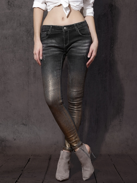 RDSTR Women Black Slim Fit Mid-Rise Low Distress Stretchable Jeans