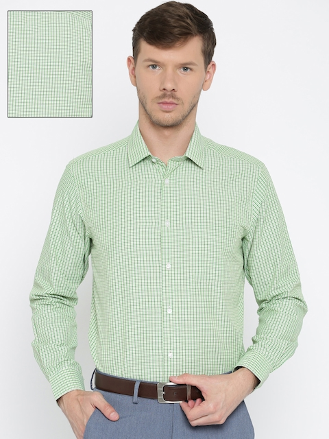 Peter England Men Green & White Regular Fit Checked Casual Shirt