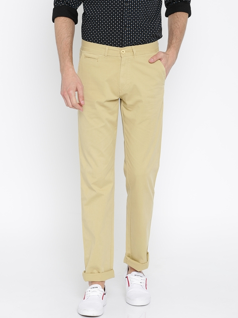 Peter England Men Khaki Slim Fit Solid Chinos