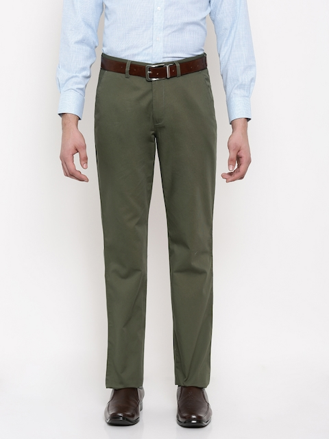 Peter England Men Olive Green Smart Fit Self-Design Formal Trousers