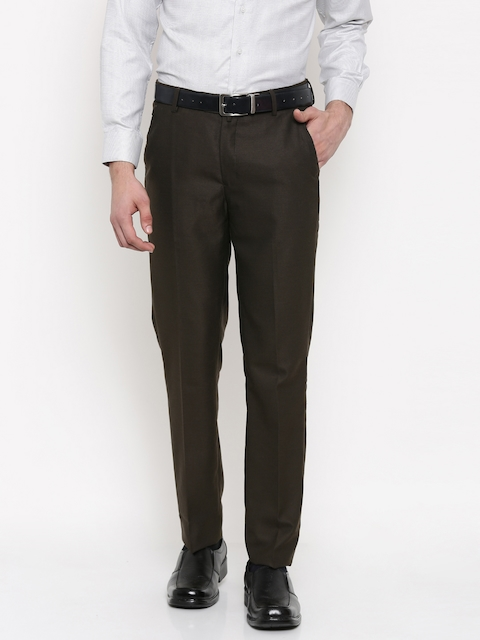 Peter England Men Brown Slim Fit Self-Design Formal Trousers