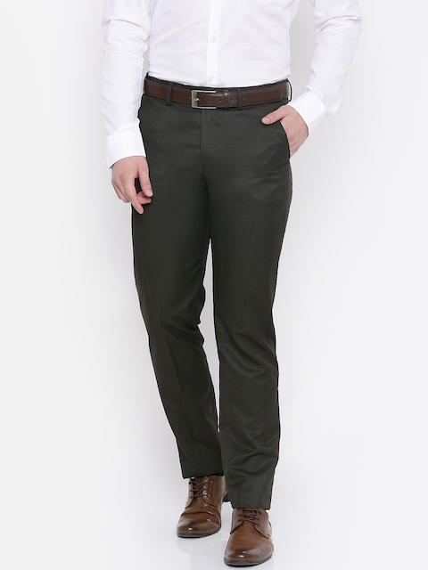 Peter England Men Brown Slim Fit Solid Formal Trousers