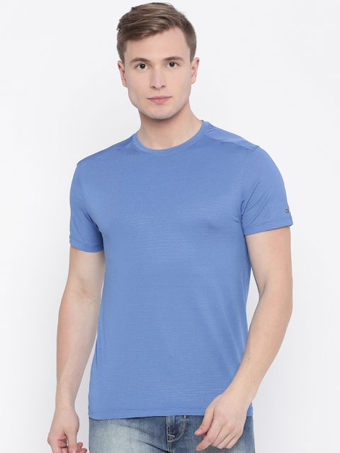 Peter England Men Blue Solid T-shirt