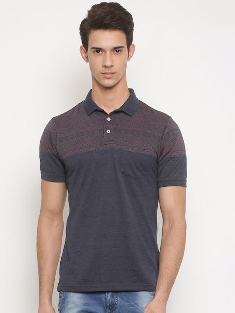 Peter England Men Blue Self-Design Polo T-shirt