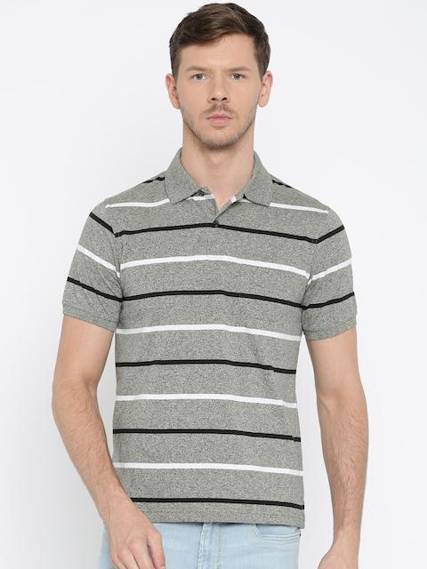 Peter England Men Grey Melange Striped Polo Collar T-shirt