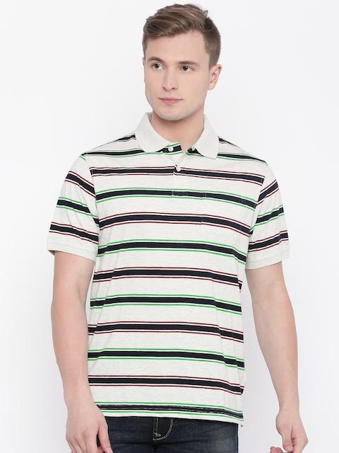 Peter England Men Grey Melange & Navy Striped Polo Collar T-shirt