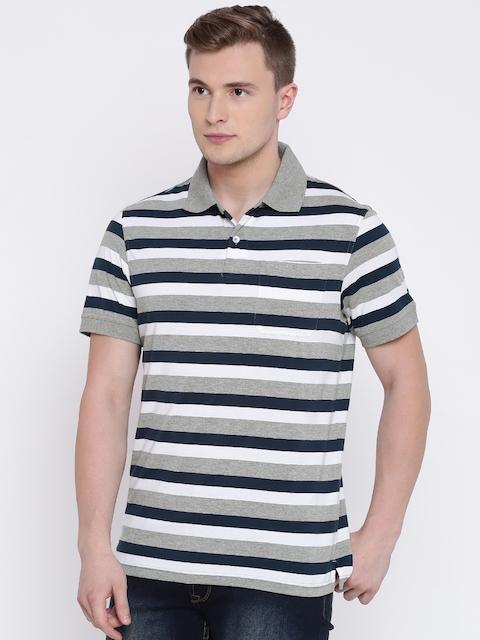 Peter England Men Navy Blue & Grey Melange Striped Polo Collar T-shirt