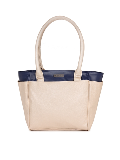 Caprese Off-White Solid Tote Bag