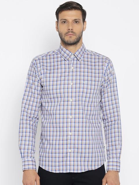 Park Avenue Men Beige & Blue Slim Fit Checked Casual Shirt