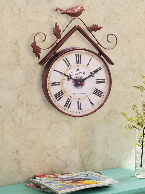 Home Sparkle Copper-Toned Analogue Wall Clock