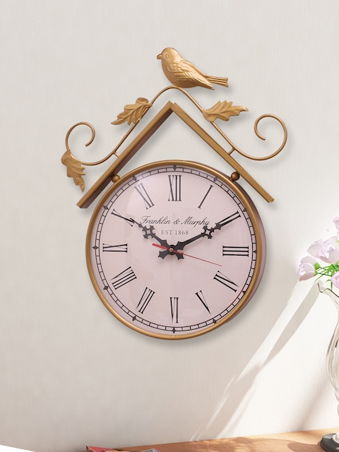 Home Sparkle Gold-Toned Analogue Wall Clock