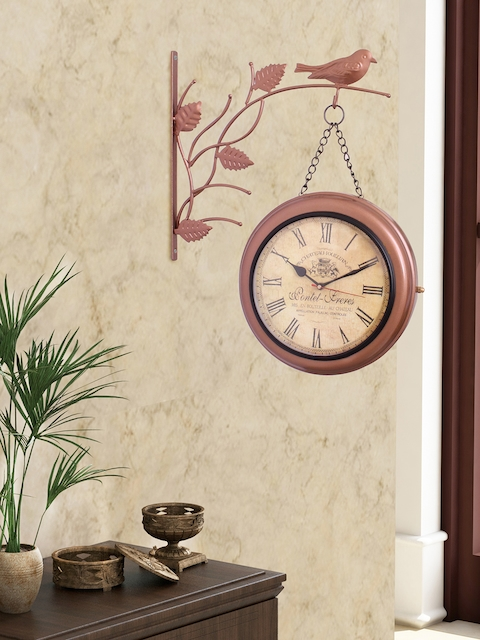 Home Sparkle Brown Dial Analogue 36 cm Wall Clock