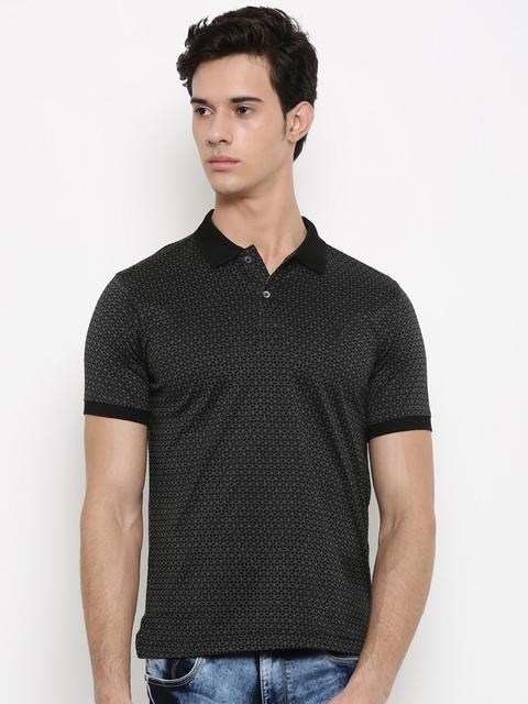 Van Heusen Men Black Printed Polo Collar T-shirt
