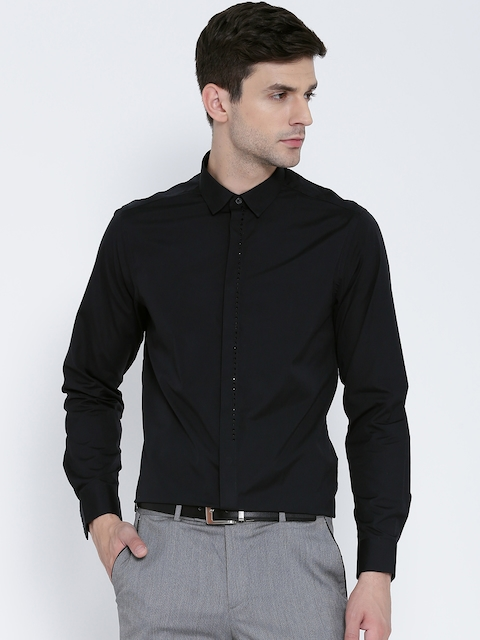 Blackberrys Men Black Slim Fit Solid Partywear Shirt