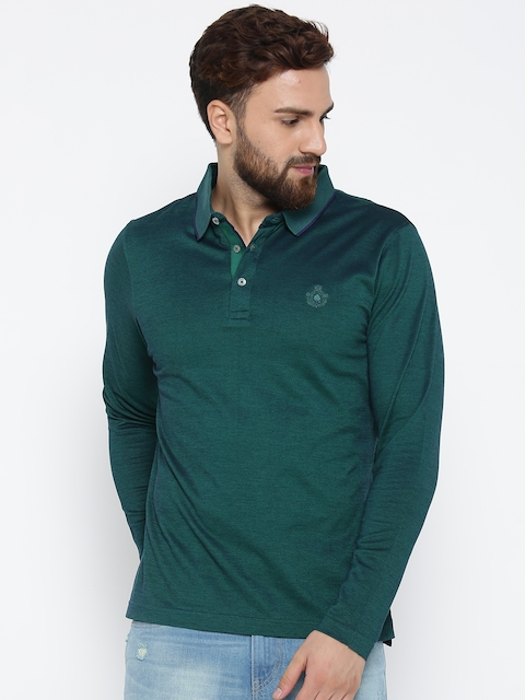 Blackberrys Men Green Solid Dual-Toned Polo Collar T-shirt