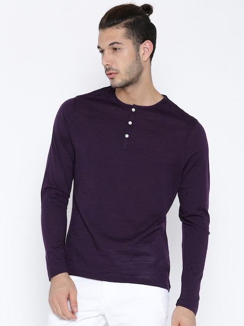 Blackberrys Men Purple Solid Merino Wool Henley Neck T-shirt