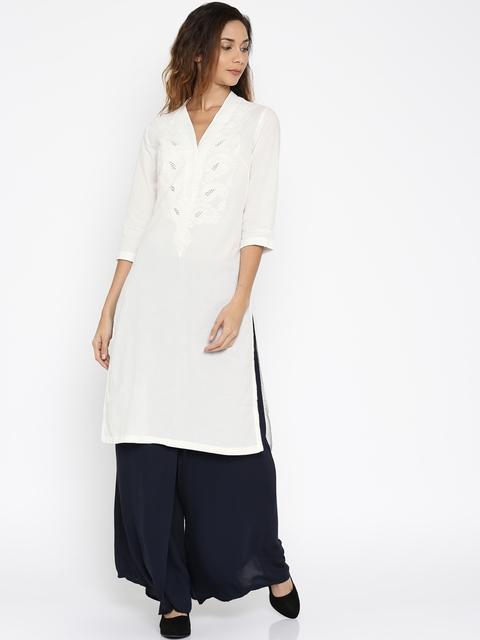 Biba Women White Yoke Design Straight Kurta