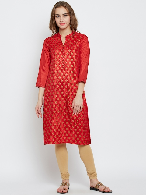 Biba Women Red Printed Straight Kurta