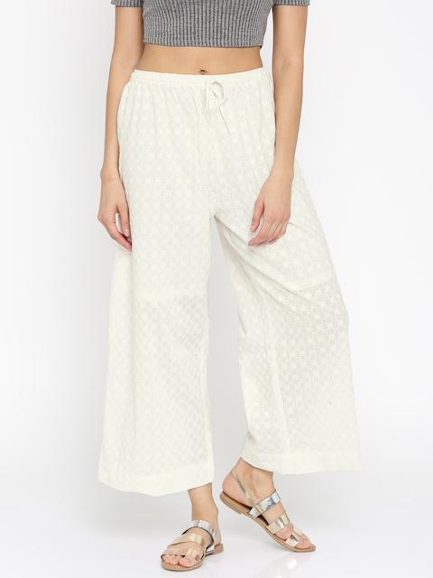 Biba Women Off-White Self-Design Trousers