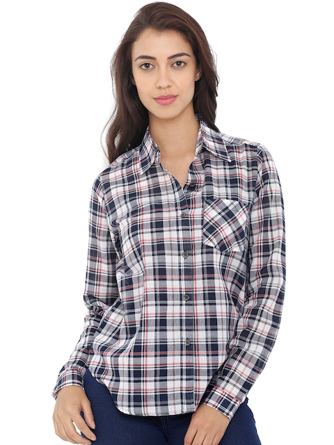 20Dresses Women Navy Blue & White Checked Casual Shirt