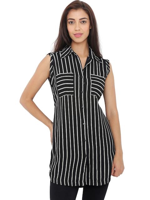 20Dresses Women Black & White Striped Tunic Shirt