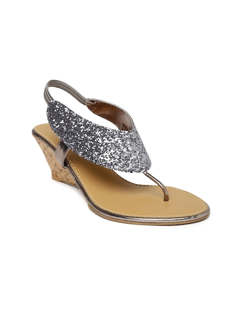 Inc 5 Women Gunmetal-Toned Sandals