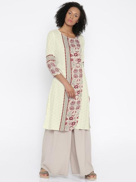 Global Desi Women White & Maroon Printed A-Line Kurta