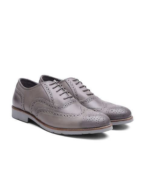 United Colors of Benetton Men Grey Genuine Leather Brogues